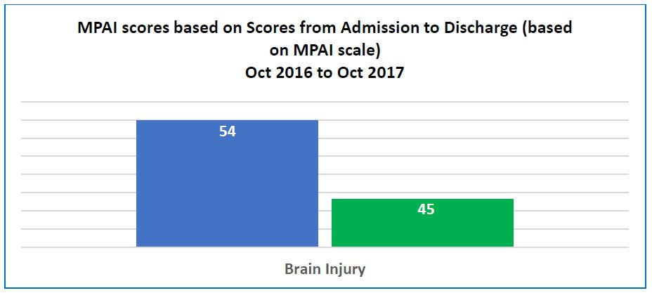 brain injury, PPAI scores diagram, post acute rehab